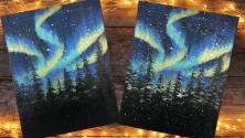 Teachlr.com - Northern Lights Forest Canvas